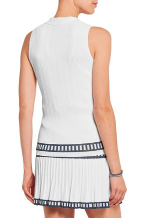 L'ETOILE SPORT Madea ribbed stretch-jersey polo top