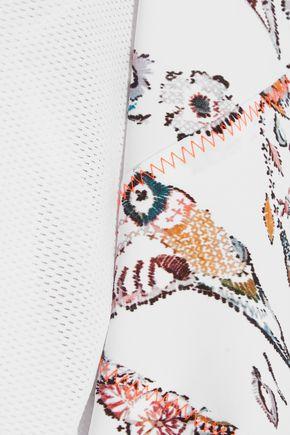 LUCAS HUGH Mesh-paneled printed stretch top