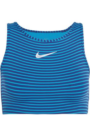 NIKE Power cropped striped Dri-FIT stretch-jersey tank