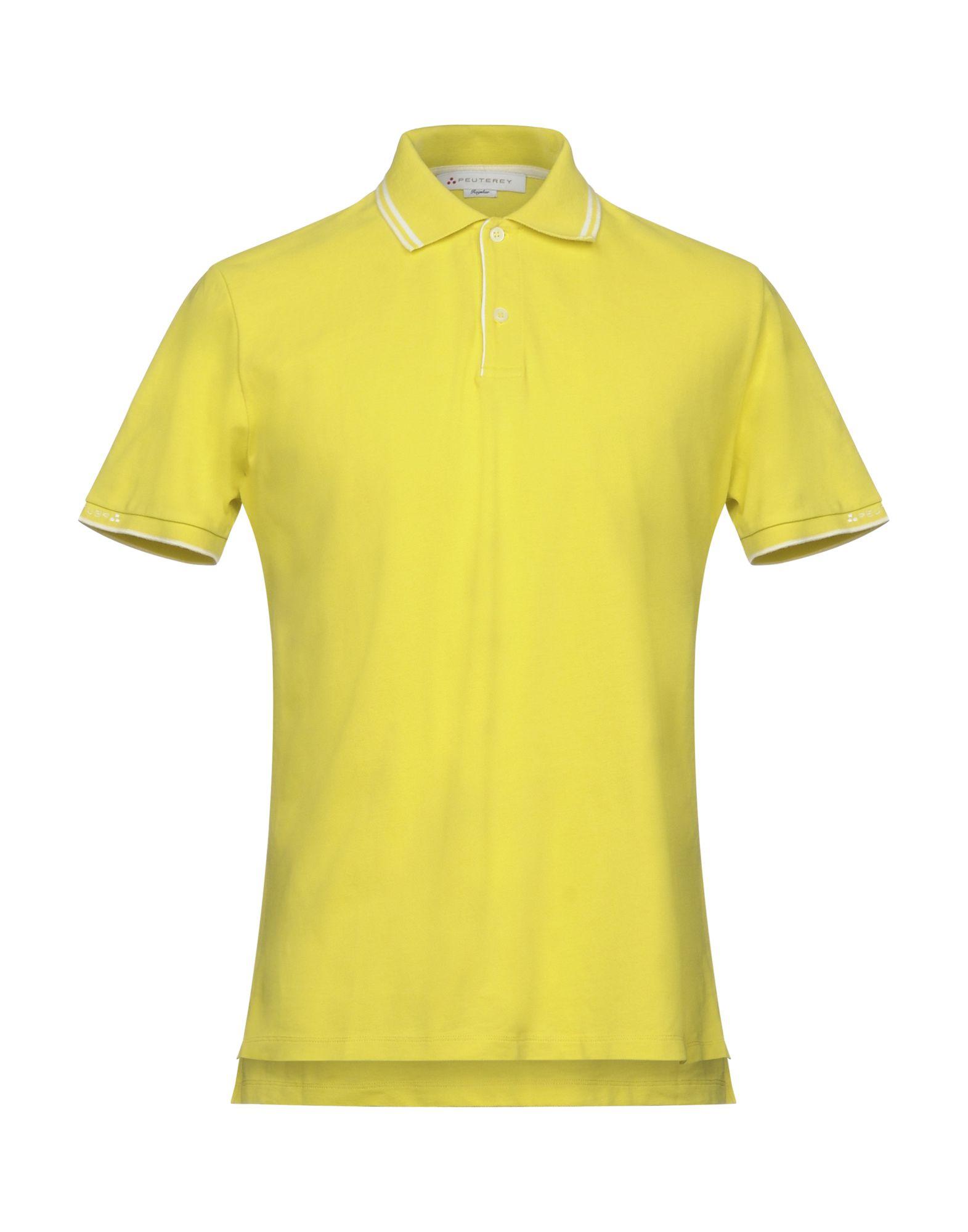 《送料無料》PEUTEREY メンズ ポロシャツ イエロー XXS コットン 100%