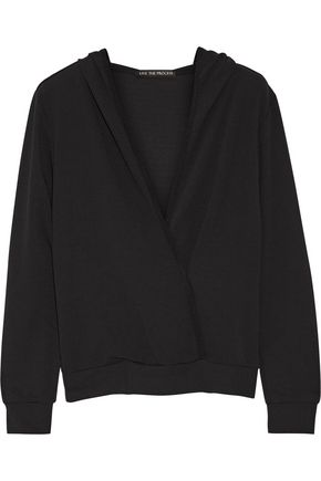 LIVE THE PROCESS Stretch-Supplex® hooded wrap-effect top