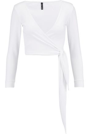 LISA MARIE FERNANDEZ Dree cropped stretch-jersey wrap top