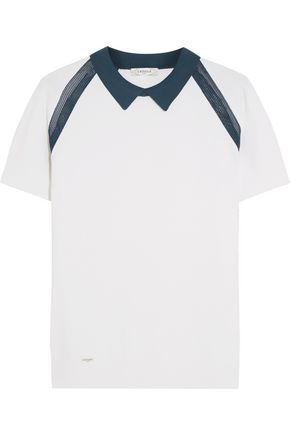 L'ETOILE SPORT Medea two-tone mesh-paneled stretch-knit polo shirt