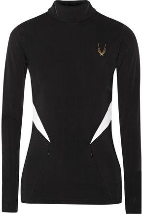 LUCAS HUGH Fleece-backed stretch-jersey top