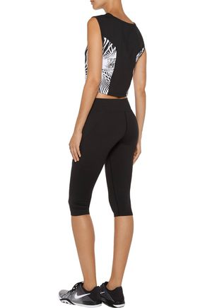 LIVE THE PROCESS Cropped printed stretch-Supplex® top