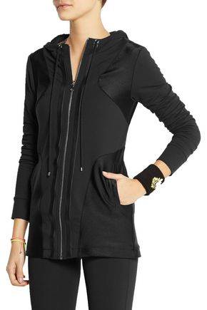 LIVE THE PROCESS Satin-paneled stretch-Supplex® hooded top