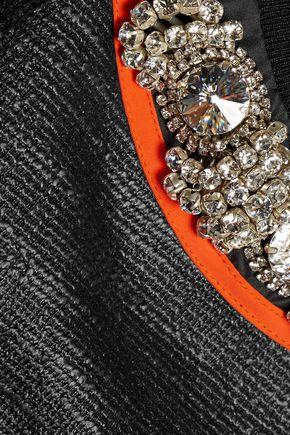 NO KA 'OI Nake crystal-embellished coated cotton-blend top