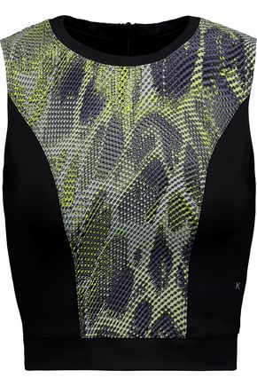 KORAL Pare cropped printed stretch-jersey top