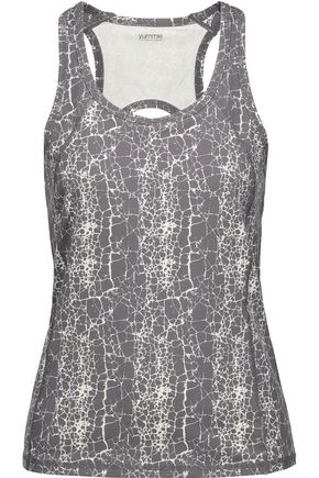 YUMMIE by HEATHER THOMSON® Janis printed cutout stretch-cotton tank