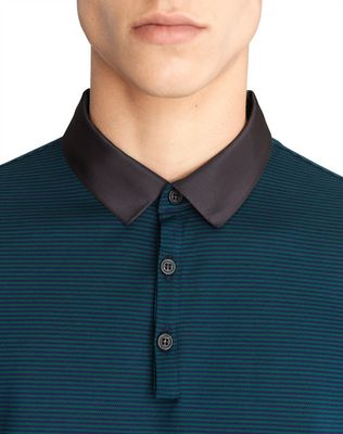 LANVIN STRIPPED MERCERIZED POLO SHIRT Polos & T-Shirts U a