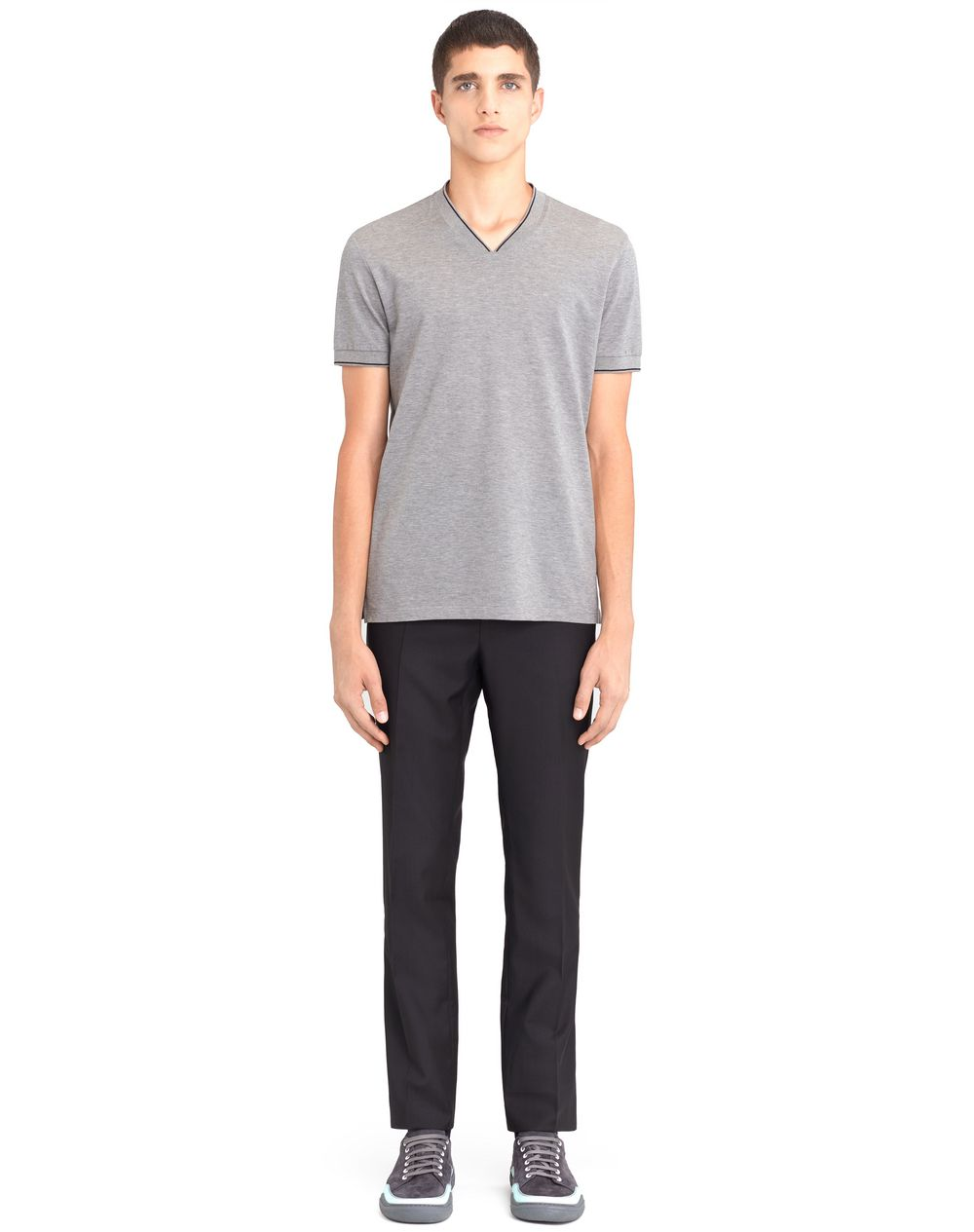 V-NECK MERCERIZED POLO SHIRT - Lanvin