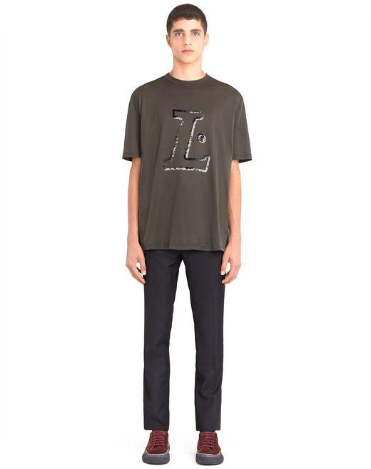 """lanvin khaki """"l"""" t-shirt men"""