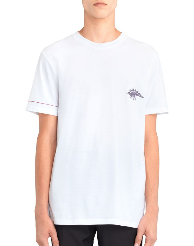 "LANVIN WHITE ""DINO"" EMBROIDERED T-SHIRT Polos & T-Shirts U f"