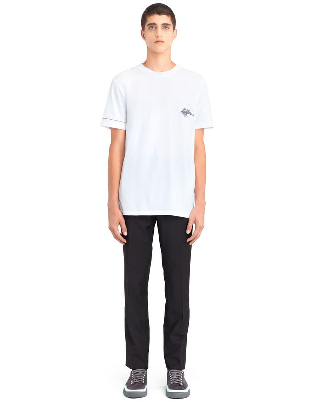 "LANVIN WHITE ""DINO"" EMBROIDERED T-SHIRT Polos & T-Shirts U r"