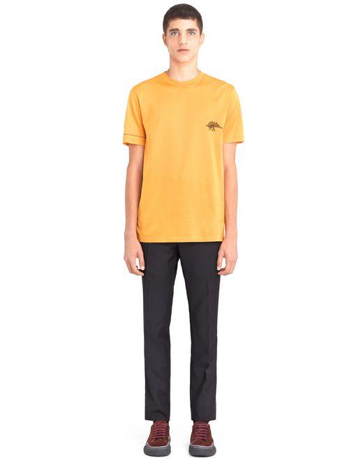 "lanvin orange ""dino"" embroidered t-shirt men"