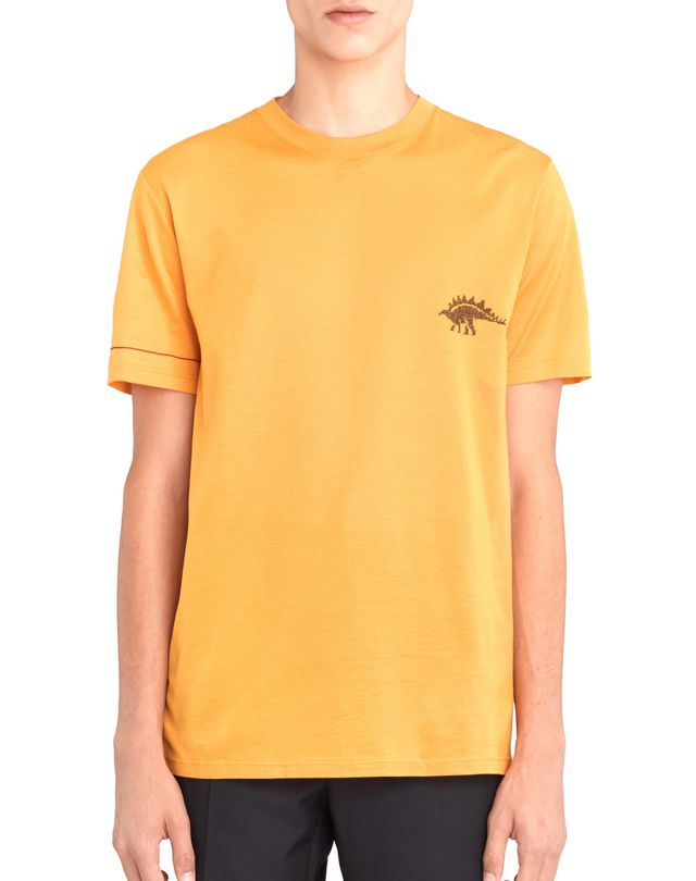 "LANVIN ORANGE ""DINO"" EMBROIDERED T-SHIRT Polos & T-Shirts U f"