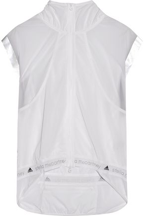 ADIDAS by STELLA McCARTNEY Mesh-trimmed shell and stretch-jersey top