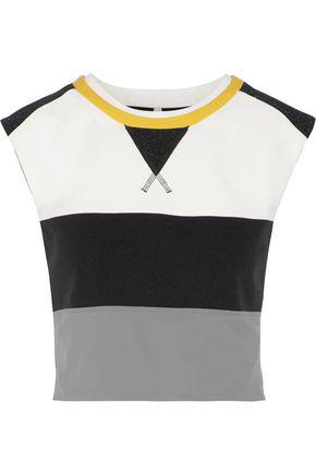 NO KA 'OI Manu metallic ribbed-knit and stretch-jersey top