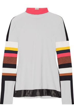 NO KA 'OI Naka paneled stretch-jersey turtleneck top