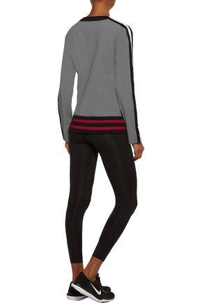 NO KA 'OI Nula striped ribbed knit-paneled stretch-jersey top