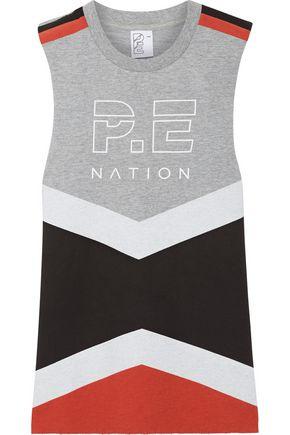 P.E NATION Raserback printed color-block cotton-terry top