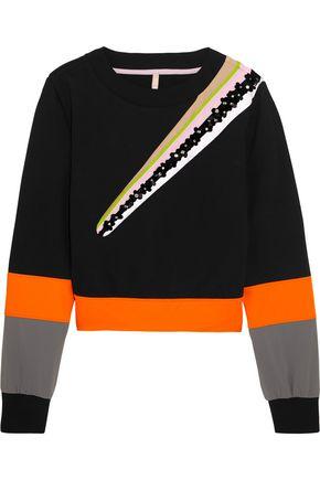 NO KA 'OI Wili embellished striped cotton-blend jersey sweatshirt