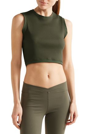 LIVE THE PROCESS Circular cropped ribbed stretch-Supplex top