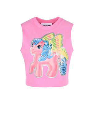 Little Pony Stretch Cotton Crop Top in Pink