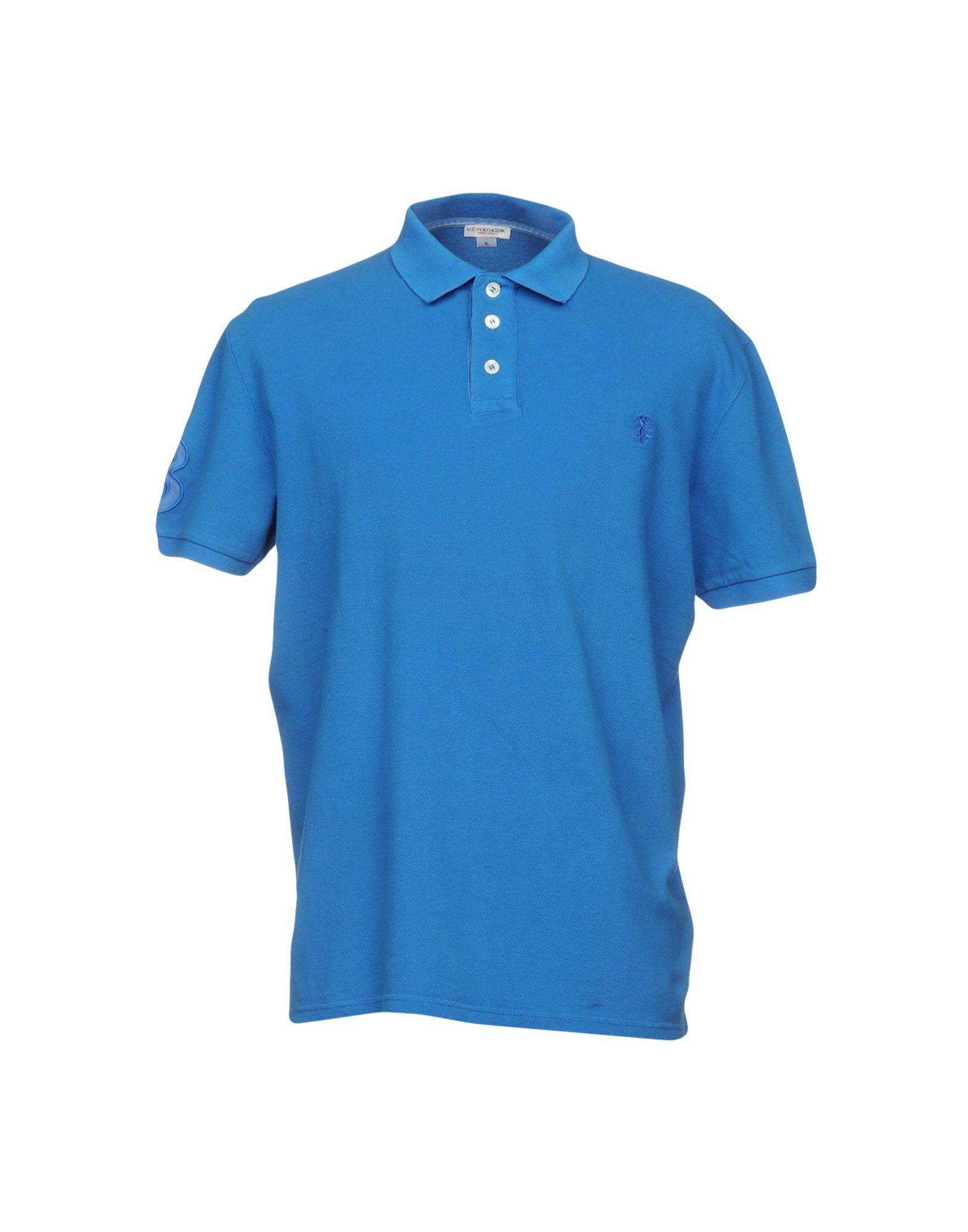 《送料無料》U.S.POLO ASSN. メンズ ポロシャツ アジュールブルー S コットン 100%