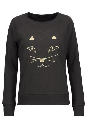 BODYISM + Charlotte Olympia I Am Purrrfect metallic embroidered slub terry sweatshirt