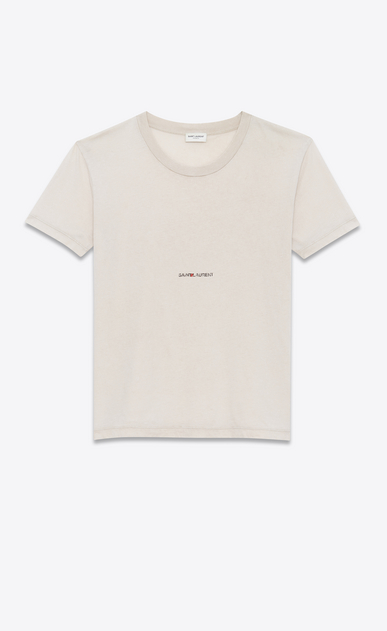 SAINT LAURENT T-Shirt and Jersey Woman T-shirt with Saint Laurent square in light pink destroyed jersey a_V4
