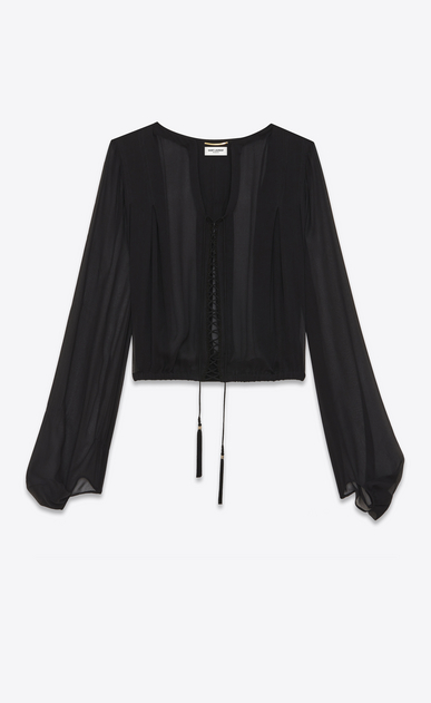 SAINT LAURENT Tops and Blouses Woman Laced oversized blouse in black silk chiffon a_V4