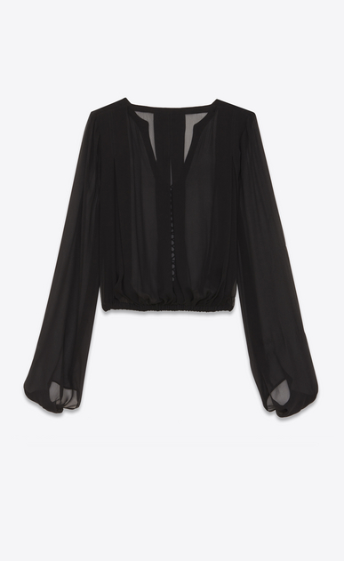 SAINT LAURENT Tops and Blouses Woman Laced oversized blouse in black silk chiffon b_V4