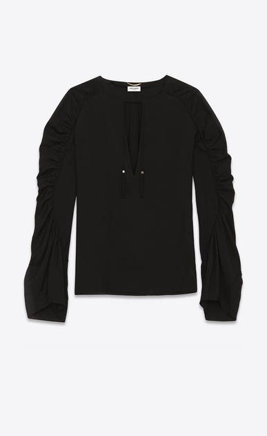 SAINT LAURENT Tops and Blouses Woman Blouse with tassels in black viscose fabric a_V4