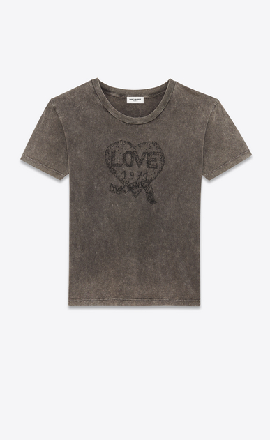 SAINT LAURENT T-Shirt and Jersey Woman t-shirt embroidered with love 1971 in faded black destroyed jersey a_V4