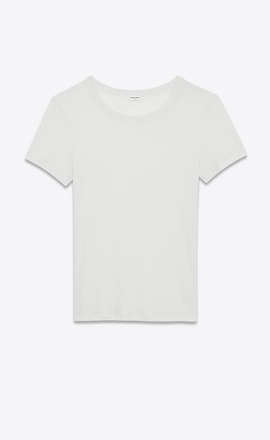 SAINT LAURENT T-Shirt and Jersey D Tight T-shirt in off-white viscose jersey voile a_V4
