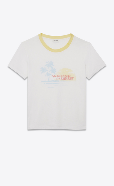 SAINT LAURENT T-Shirt and Jersey Woman T-shirt with WAITING FOR SUNSET print in off-white jersey a_V4