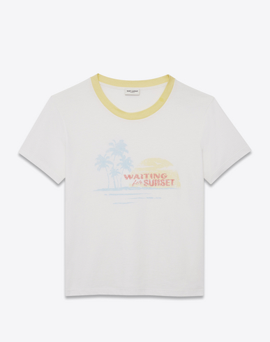 T-Shirt With Waiting For Sunset Print In Off-White Jersey, Multicolor