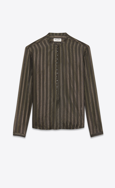 SAINT LAURENT Tops and Blouses Woman tunic with band collar in black silk with gold stripes a_V4