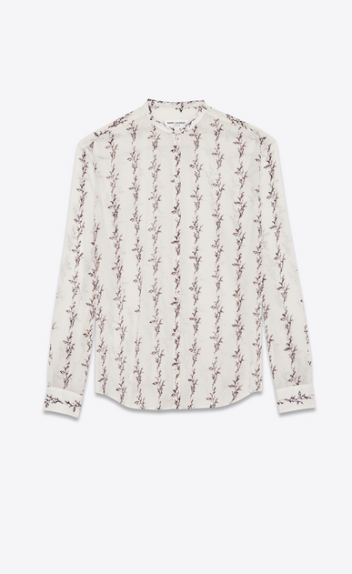 SAINT LAURENT Tops and Blouses Woman Band-collar shirt in IKAT-printed cream cotton gauze a_V4