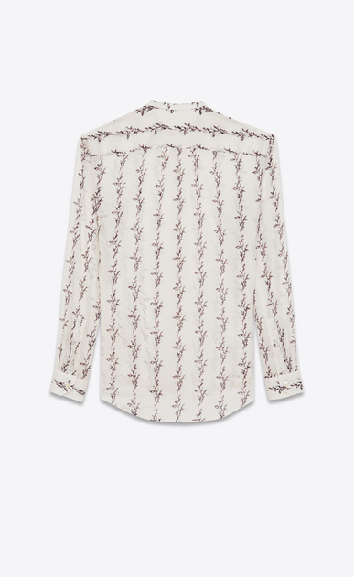 SAINT LAURENT Top e Bluse Donna Camicia con collo alla coreana a stampa IKAT in garza di cotone color crema b_V4