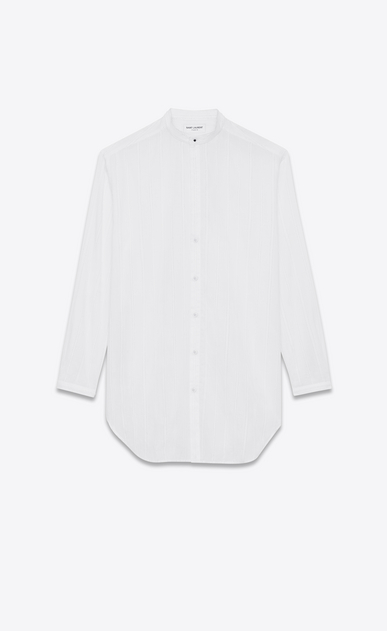 SAINT LAURENT Classic Shirts D Oversized striped shirt in chalk-colored cotton a_V4