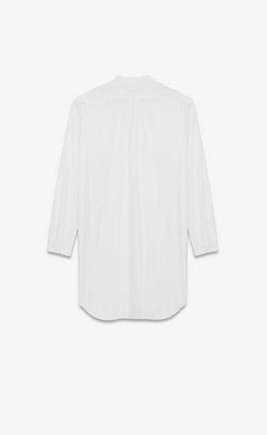 SAINT LAURENT Classic Shirts Woman Oversized striped shirt in chalk-colored cotton b_V4