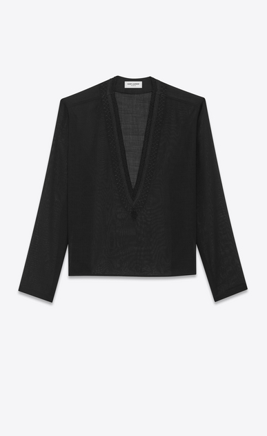 SAINT LAURENT Tops and Blouses Woman Tunic with ethnic-embroidered neck in black wool voile a_V4