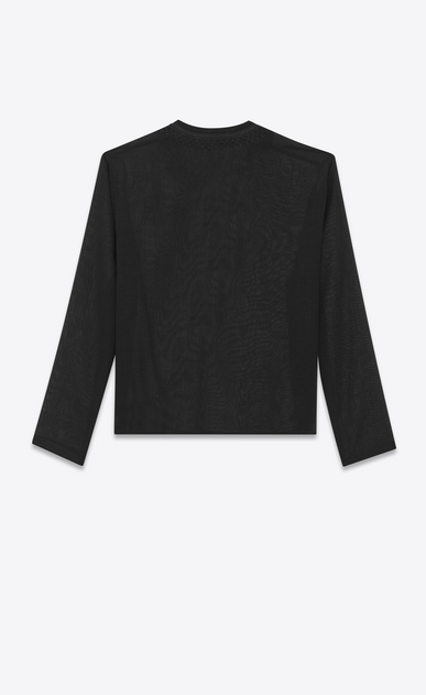 SAINT LAURENT Tops and Blouses Woman Tunic with ethnic-embroidered neck in black wool voile b_V4