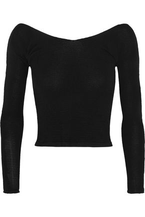BALLET BEAUTIFUL Cropped off-the-shoulder stretch-knit sweater