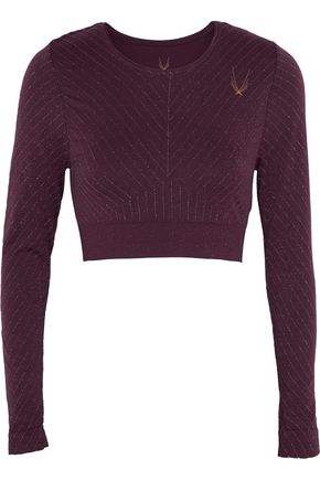 LUCAS HUGH Cropped metallic stretch-knit top