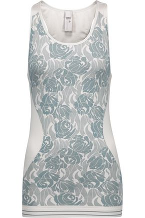 ADIDAS by STELLA McCARTNEY Seamless paneled jacquard-knit and jersey tank