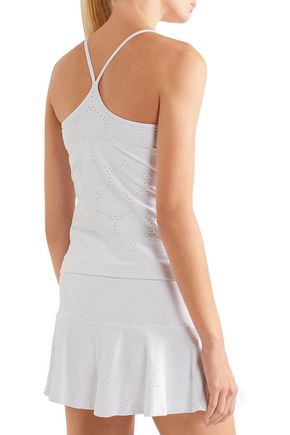 L'ETOILE SPORT Pointelle-knit tennis top