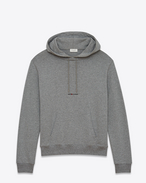 SAINT LAURENT Top Sportivi U Hoodie with SAINT LAURENT square in gray cotton fleece f